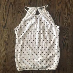 Express black and white polkadot tank top blouse.
